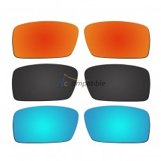 Polarized Lenses for Oakley Gascan Small  3 Pair Combo (Fire Red Mirror, Black, Ice Blue Mirror)
