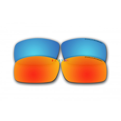 Polarized Replacement Sunglasses Lenses for Spy Optics Cooper XL 2 Pair Combo (Ice Blue Mirror, Fire Red Mirror)
