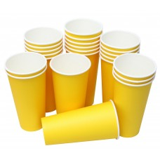 Hot Party Paper Cups, 20 Ounce, Multiple Colors (25 Count, Yellow)