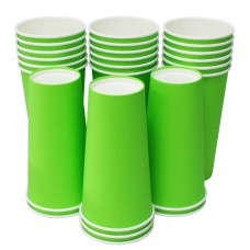 Hot Party Paper Cups, 20 Ounce, Multiple Colors (25 Count, Green)