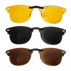 Custom Polarized Clip on Sunglasses For RayBan CLUBMASTER RB5154 49x21 3 Color Combo (Bronze Brown, Black,Yellow)