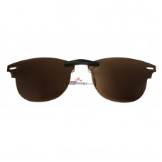 Custom Polarized Clip on Sunglasses For RayBan CLUBMASTER RB5154 49x21 (Bronze Brown)