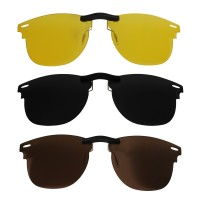 Custom Polarized Clip on Sunglasses For RayBan CLUBMASTER RB3016 (RX3016) 51x21 (Bronze Brown, Black,Yellow)