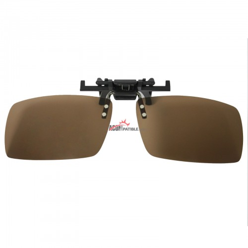 Polycarbonate Clip on Flip up Enhancing Driving Glasses Polarized Brown Lenses