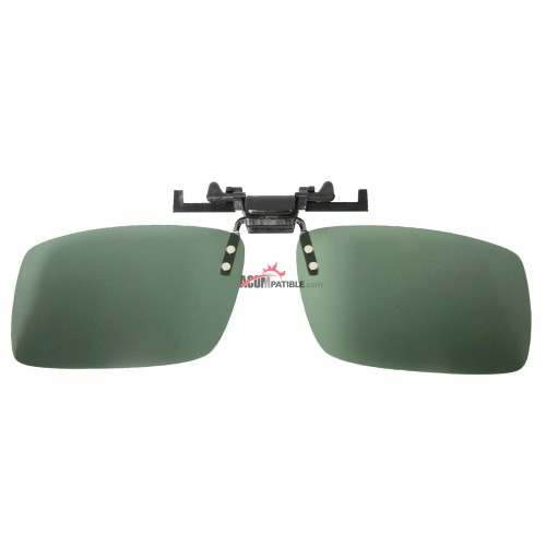 Polycarbonate Clip on Flip up Sunglasses Polarized 135mm Wide Green Lenses