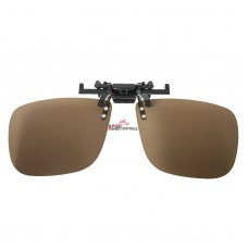 Polarized Clip on Flip up Plastic Sunglasses, Rectangle, Polarized Brown Lenses