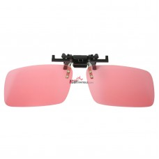 Polarized Clip on Flip up Plastic Sunglasses, Rectangle, Pink Lenses