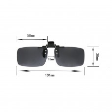 Polarized Clip on Flip up Plastic Sunglasses, Large Tru Rectangle Gray Lenses