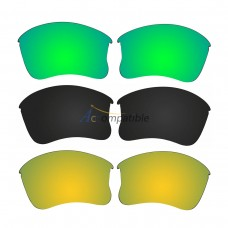 Replacement Polarized Lenses for Oakley Flak Jacket XLJ 3 Pair Combo (Amber Green Mirror, Black, Gold)