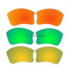 Replacement Polarized Lenses for Oakley Flak Jacket XLJ 3 Pair Combo (Fire Red Mirror, Amber Green Mirror, Gold)