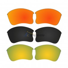 Replacement Polarized Lenses for Oakley Flak Jacket XLJ 3 Pair Combo (Fire Red Mirror,Black, Gold)