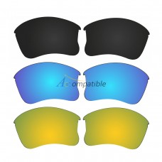 Replacement Polarized Lenses for Oakley Flak Jacket XLJ 3 Pair Combo (Black, Blue, Gold)