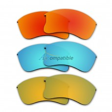 Polarized Lenses for Oakley Flak Jacket XLJ 3 Pair Combo (Fire Red Mirror, Blue, Gold Color)