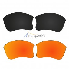 Replacement Polarized Lenses for Oakley Flak Jacket XLJ 2 Pair Combo (Black, Fire Red Mirror)