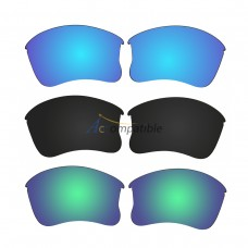 Replacement Polarized Lenses for Oakley Flak Jacket XLJ 3 Pair Combo (Blue, Black, Amber Green Mirror)