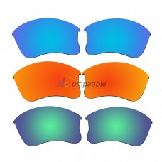 Replacement Polarized Lenses for Oakley Flak Jacket XLJ 3 Pair Combo (Blue, Fire Red Mirror, Amber Green Mirror)