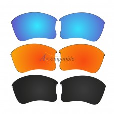 Polarized Lenses for Oakley Flak Jacket XLJ 3 Pair Combo (Blue, Fire Red Mirror, Black Color)