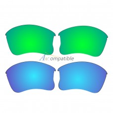 Replacement Polarized Lenses for Oakley Flak Jacket XLJ 2 Pair Combo (Amber Green Mirror, Blue)