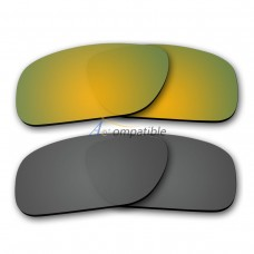 Polarized Lenses for Oakley Holbrook 2 Pair Combo (Gold Mirror,Grey)