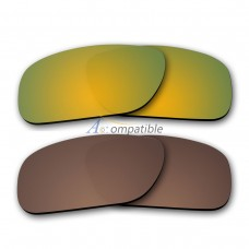 Polarized Lenses for Oakley Holbrook 2 Pair Combo (Gold Mirror,Bronze Brown)