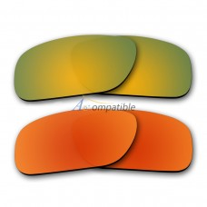 Polarized Lenses for Oakley Holbrook 2 Pair Color Combo (Gold Mirror, Fire Red Mirror)