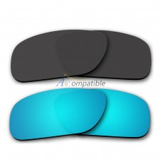 Polarized Lenses for Oakley Holbrook 2 Pair Combo (Black,Ice Blue Mirror)
