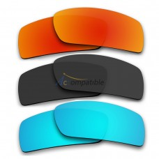 Polarized Lenses for Oakley Gascan 3 Pair Combo (Fire Red Mirror, Black Color, Ice Blue Mirror)
