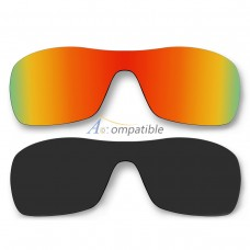 Polarized Lenses for Oakley Antix 2 Pair Color Combo (Fire Red Mirror, Black Color)