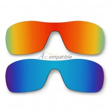 Polar Lenses for Oakley Antix 2 Pair Color Combo (Fire Red Mirror, Ice Blue Mirror)