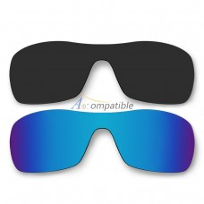Polarized Lenses for Oakley Antix 2 Pair Color Combo (Black, Ice Blue Mirror)