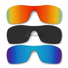 Lenses for Oakley Antix 3 Pair Color Combo (Fire Red Mirror, Black Color, Ice Blue Mirror)