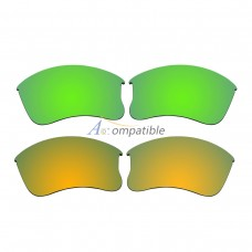 Replacement Polarized Lenses for Oakley Flak Jacket XLJ 2 Pair Combo (Amber Green Mirror, Gold)