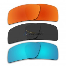 Lenses for Oakley Eyepatch 2 3 Pair Color Combo (Fire Red Mirror, Black Color, Ice Blue Mirror)