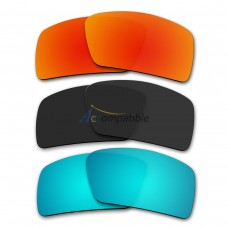 Lenses for Oakley Eyepatch (1) 3 Pair Color Combo (Fire Red Mirror, Black Color, Ice Blue Mirror)