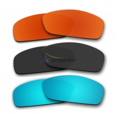 Lenses for Oakley Hijinx 3 Pair Color Combo (Fire Red Mirror, Black, Ice Blue Mirror)