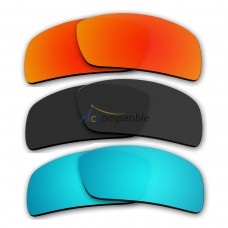Lenses for Oakley Oil Drum 3 Pair Color Combo (Fire Red Mirror, Black Color, Ice Blue Mirror)
