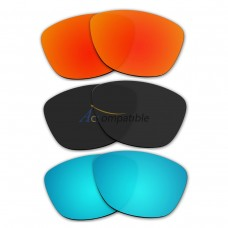 Lenses for Oakley Jupiter 3 Pair Color Combo (Fire Red Mirror, Black Color, Ice Blue Mirror)