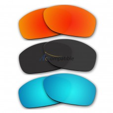 Lenses for Oakley Pit Bull 3 Pair Color Combo (Fire Red Mirror, Black, Ice Blue Mirror)