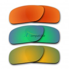 Polarized Lenses for Oakley Holbrook 3 Pair Color Combo (Fire Red Mirror, Emerald Green Mirror, Gold Mirror)