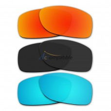 Lenses for Oakley Jupiter Squared 3 Pair Color Combo (Fire Red Mirror, Black Color, Ice Blue Mirror)