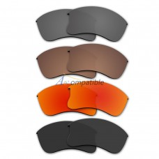Polarized Lenses for Oakley Flak Jacket XLJ 4 Pair Combo (Grey, Bronze Brown, Fire Red Mirror, Black)