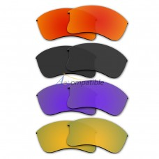 Polarized Lenses for Oakley Flak Jacket XLJ 4 Pair Combo (Fire Red Mirror, Black, Purple, Gold)