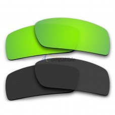 Polarized Lenses for Oakley Gascan 2 Pair Combo (Emerald Green Mirror, Black Color)