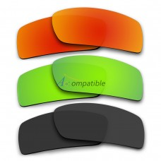 Polarized Lenses for Oakley Gascan 3 Pair Combo (Fire Red Mirror, Emerald Green Mirror, Black Color)