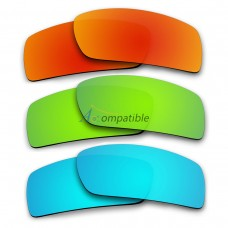 Polarized Lenses for Oakley Gascan 3 Pair Combo (Fire Red Mirror, Emerald Green Mirror, Ice Blue Mirror)