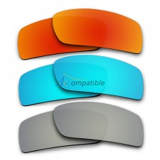 Polarized Lenses for Oakley Gascan 3 Pair Combo (Fire Red Mirror, Ice Blue Mirror, Silver Mirror)