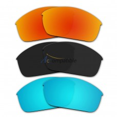 Lenses for Oakley Flak Jacket 3 Pair Color Combo (Fire Red Mirror, Black Color, Ice Blue Mirror)