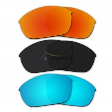 Lenses for Oakley Half Jacket (2.0) 3 Pair Color Combo (Fire Red Mirror, Black Color, Ice Blue Mirror)