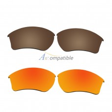 Replacement Polarized Lenses for Oakley Half Jacket 2.0 XL 2 Pair Combo (Bronze Brown, Fire Red Mirror)