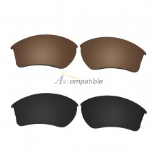 Replacement Polarized Lenses for Oakley Half Jacket 2.0 XL 2 Pair Combo (Bronze Brown, Black)